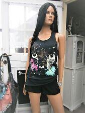 ★ SEXY LOUNGEFLY USA TANKTOP GALAXY CAT SCHWARZ 100% BW A-FORM GR. S ★
