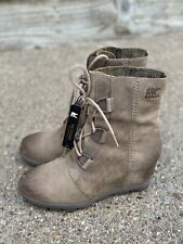 Sorel Joan Arctic Wedge II Lace Up Boots Ash Brown Size 9 B