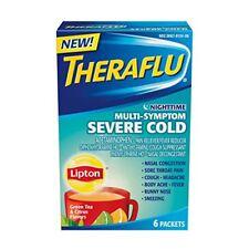 3 Pk Theraflu Severe Cold & Flu Relief Nighttime Multi-Symptom Lipton Flavor 6Ct