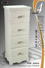CASSETTIERA H80*31*26 LEGNO 4 CASSETTI SHABBY CHIC BIANCA ROSE TOD 569616