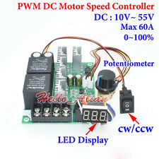 PWM DC Motor Speed Controller DC 10-55V 12V 24V 48V 60A CW CCW Reversible Switch