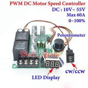 PWM DC Motor Speed Controller DC 10-55V 12V 24V 48V 60A CW CCW Reversible Switch