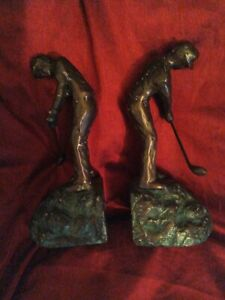 Paloma Collection AJ-R19G Cast Metal Golfer Bookends with Finish Patina