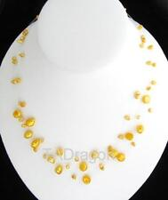 "18"" 3 Strand Genuine Golden Floating Pearl Necklace"
