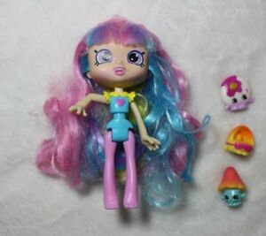 "Shopkins Rainbow Kate Pink Purple Blue Hair 3 Shopkins 5"" Doll Preschool Gift"