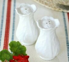 New White Cabbage Leaf Salt & Pepper Shakers with Tray Majolica Portugal