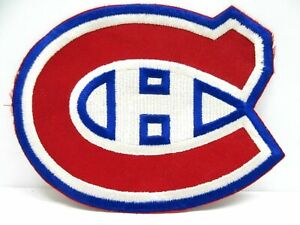 """Montreal Canadiens Lg Embroidered Patch NHL Jersey NOS 6.25"""" x 7.75""""White Center"""
