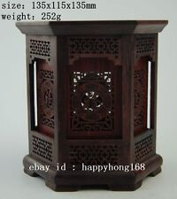 Chinese Wood hand-carved Hollow sculpture hexagon pen cases brush pot d02