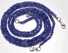 """1 STAND NATURAL TANZANITE MICRO FACETED RONDELLE BEADS NECKLACE 3 - 5 MM 16"""""""