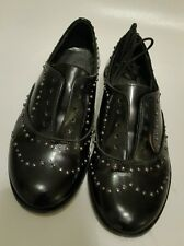 Derby Bonpoint Girls Black Patent Leather Brogues With Silver Studs