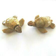 "Sea Turtle Pair Hand carved Peru miniatures 1.75"""