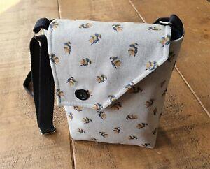 Bumble Bee Print, Handmade Crossbody bag. 100% cotton