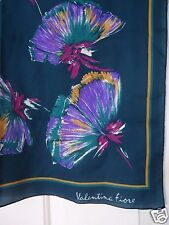 """VALENTINA FIORE Women's 25"""" x 25' Purple Green Floral Scarf  NWOT"""