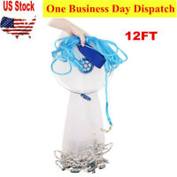 12ft Saltwater Fishing Cast Net for Bait Trap Fish Throw Net Freshwater Nets