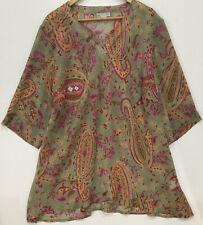 Ts top 24 plus  tunic Paisley print V neckline  3/4 sleeve Excellent condition