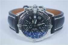 Breitling WIndrider Crosswind Watch #13355 Stainless Steel Leather Strap