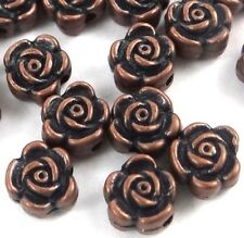 20 Antique Copper Pewter Rose Flower 6x4mm Beads
