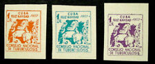 1953, Latin America, Tb Charity Seals, Santa, Children & Tree, 3 Seals, Mnh
