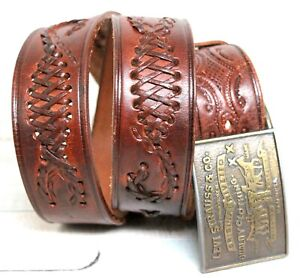 """Levi's VTG BUCKLE BRAIDED EMBOSSED BROWN LEATHER 1.5""""Wd CASUAL MEN'S BELT 36 (E7"""