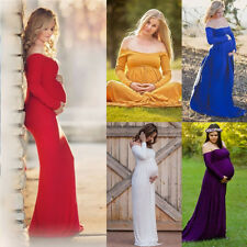 Women Off Shoulder Long Sleeve Cotton Maternity Dress Gown Maxi Photography Prop