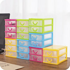 2 Plastic Drawer Mini Desk Draw Storage Tray Office/Home Organizer Jewellery Box