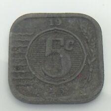 1943 Nederland Netherlands Five 5 Cents Dutch Circulated Coin E707