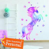 Star Unicorn Wall Stickers Kids Bedroom Pastel Art Cute Girls Nursery Gift WA002