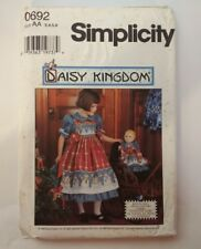 "Simplicity 0692 Size 3-6 Child's Dress Pinafore 17"" Doll Dress Daisy Kingdom"
