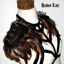 UNISEX BIKER BROWN STUDDED STEAMPUNK JACKET FEATHER GOTH LEATHER TOP EPAULETTES