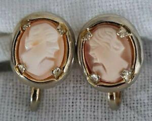 antike Ohrclips - Ohrringe - golden mit Gemme - mit Drehverschluss - Nachlass