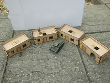 4x 28mm Medium Size adobe Desert Flat Roof Buildings Set C MDF Laser Cut 3mm