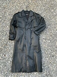 Wilsons Long Leather Trench Jacket Coat Black Womens Size XS P- Vintage 90's