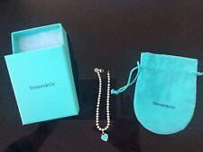 Genuine Return To Tiffany & Co 4mm Perlina Braccialetto Blu Smalto Cuore 925 Argento