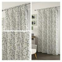 Green Voile Curtain Freya Floral Leaf Panel Ready Made Rod Slot Top Curtains