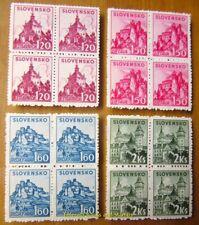 EBS Slovakia Slovensko 1941 Mountains & Castles - Michel 81-84 MNH** BLOCKS FOUR