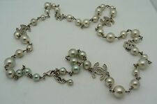 """CHANEL CLASSIC 5 CC's FAUX PEARL LINK NECKLACE 40"""" LONG"""