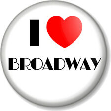 """I Love / Heart BROADWAY 1"""" 25mm Pin Button Badge Theatre Musicals Shows New York"""