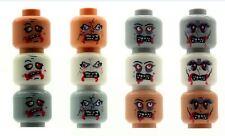 12 Custom Designed Minifigure Zombie Alien Heads Printed On LEGO Parts