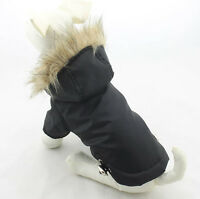 BASIC BLACK NYLON PUFFER COLD WEATHER PET DOG FURRY HOODIE (SMALL-MED BREED)