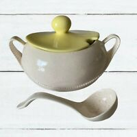 Tureen w/ Lid and ladle soup Made In USA cream yellow Serving Dish