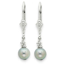 925 Sterling Silver Dangle Leverback Polished Grey Cultured Pearl Earrings