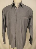 Zanella Mens Grey Long Sleeve Cotton Covered Plat Fly Front Shirt XL Italy Made