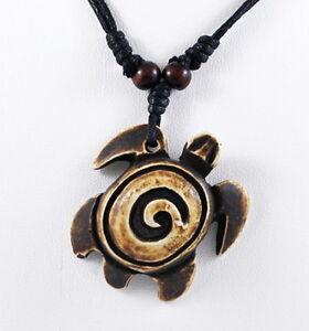Men Surfer Choker Adjustable  Necklace black Wax cord pendant Turtle marijuana