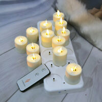 Luminara Rechargeable Led Tea Lights Moving Wick Flameless Candle for Home 12PCS