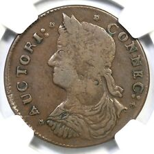 1787 33.7-r.2 NGC VF 20 Connecticut Colonial Copper Coin