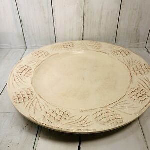 Home HOLIDAY PINE CONE CREAM Dinner Plate Charger 11In Across Sonoma Christmas