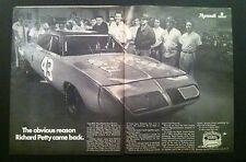 1970 Superbird Roadrunner Hemi Richard Petty #43 NASCAR 2 pg Plymouth MOPAR ad