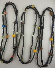 "Lot ot Three Muti-Color Glass/Black Wood Bead Continuous Necklace 36"" Long"