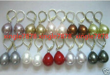 Hot Sell Wholesale 10 pairs 12X16mm South Sea Shell Pearl Drop Hook Earrings