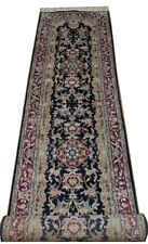 Hand-knotted 12 foot Black Runner Plush Aubusson 366 x 76 cm Artificial Silk